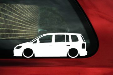 2x Low car outline stickers - for Volkswagen VW Touran Mk1 (facelift) stanced